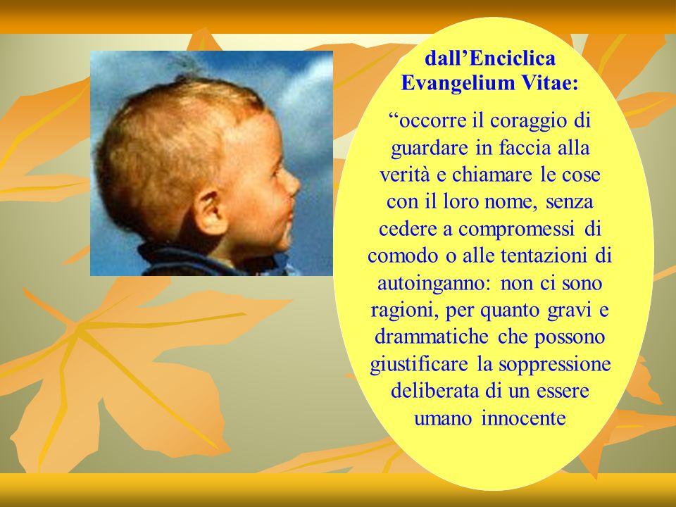 CHIESA E ABORTO dal Catechismo: Fin dal concepimento il bambino ha diritto alla vita.
