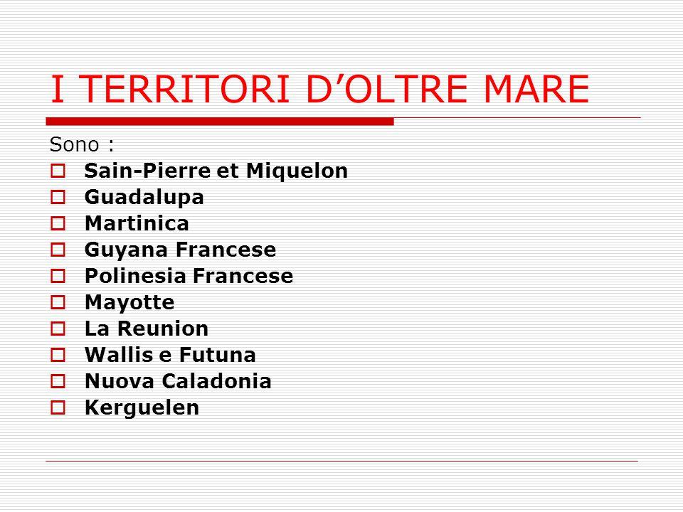 I TERRITORI D'OLTRE MARE Sono :  Sain-Pierre et Miquelon  Guadalupa  Martinica  Guyana Francese  Polinesia Francese  Mayotte  La Reunion  Wall
