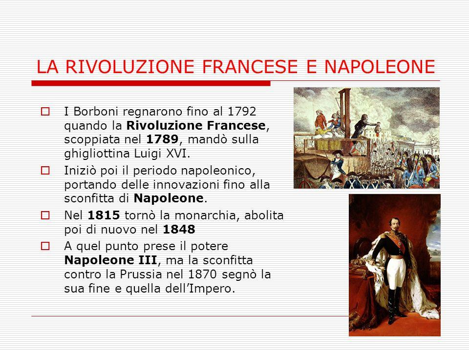 LA RIVOLUZIONE FRANCESE E NAPOLEONE  I Borboni regnarono fino al 1792 quando la Rivoluzione Francese, scoppiata nel 1789, mandò sulla ghigliottina Lu