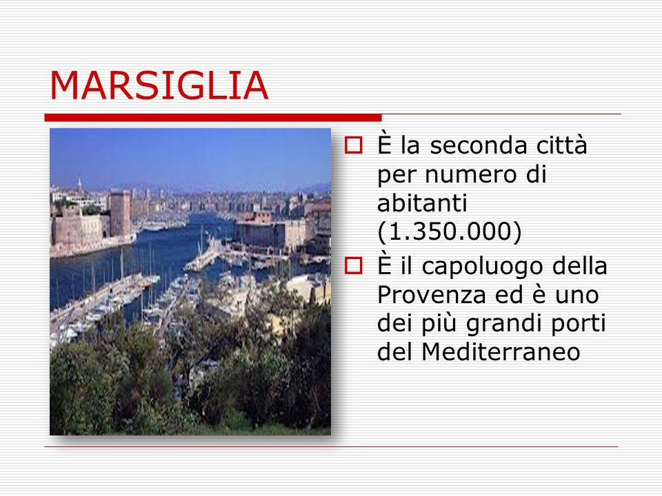 MARSIGLIA  È la seconda città per numero di abitanti (1.350.000)  È il capoluogo della Provenza ed è uno dei più grandi porti del Mediterraneo