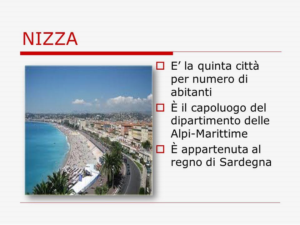 NIZZA  E' la quinta città per numero di abitanti  È il capoluogo del dipartimento delle Alpi-Marittime  È appartenuta al regno di Sardegna