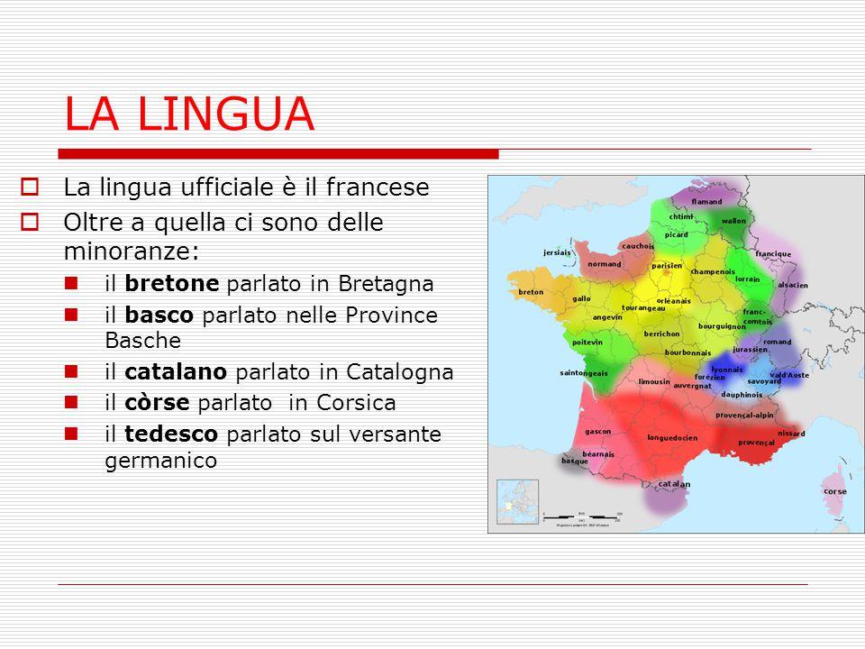 LA LINGUA  La lingua ufficiale è il francese  Oltre a quella ci sono delle minoranze: il bretone parlato in Bretagna il basco parlato nelle Province
