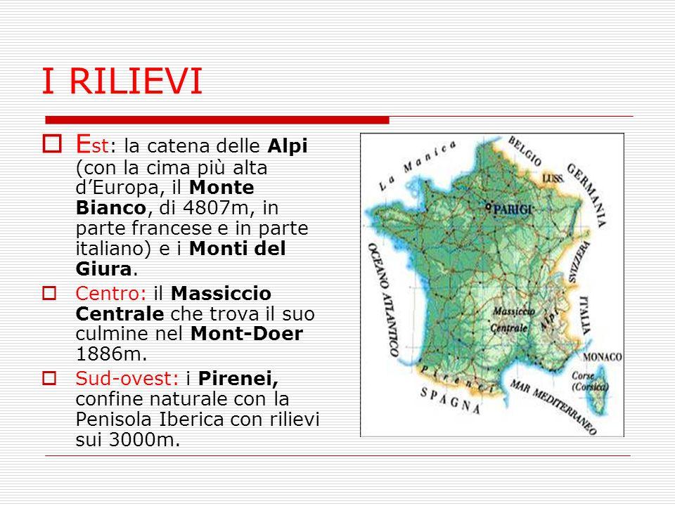 I RILIEVI  E st: la catena delle Alpi (con la cima più alta d'Europa, il Monte Bianco, di 4807m, in parte francese e in parte italiano) e i Monti del