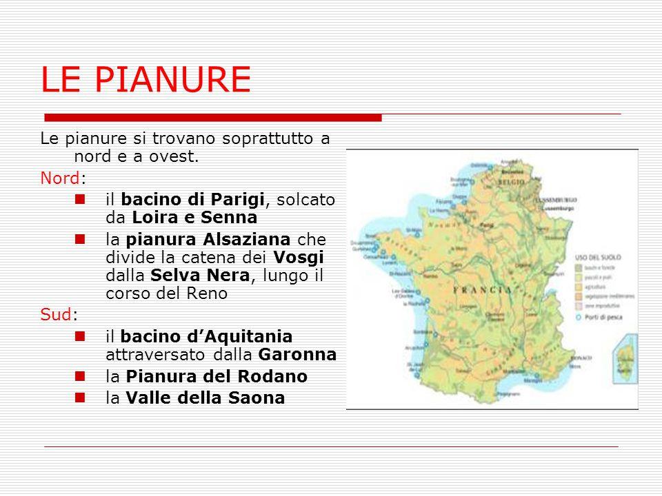 LE PIANURE Le pianure si trovano soprattutto a nord e a ovest. Nord: il bacino di Parigi, solcato da Loira e Senna la pianura Alsaziana che divide la
