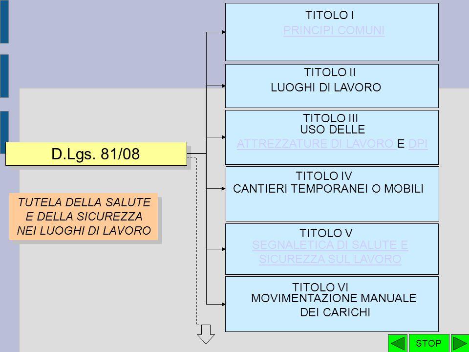 TITOLO III - CAPO II – USO DEI DISPOSITIVI DI PROTEZIONE INDIVIDUALE D.Lgs.