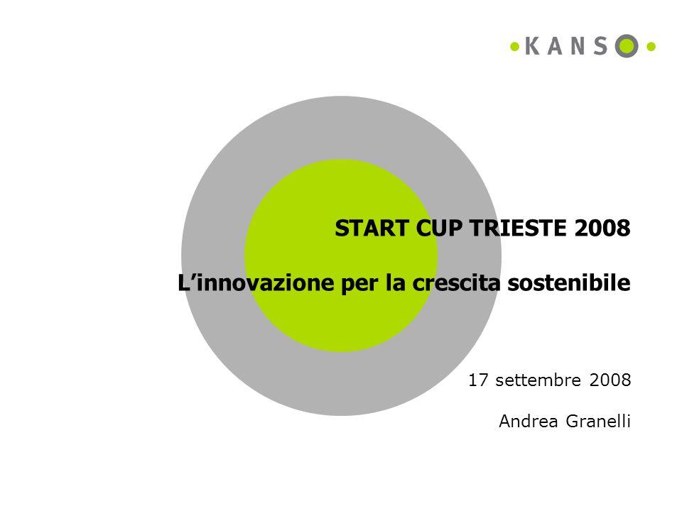START CUP TRIESTE 2008 L'innovazione per la crescita sostenibile 17 settembre 2008 Andrea Granelli