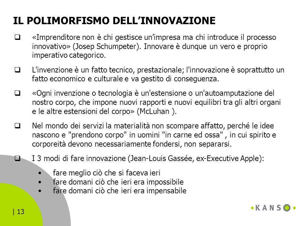| 13 IL POLIMORFISMO DELL'INNOVAZIONE  «Imprenditore non è chi gestisce un'impresa ma chi introduce il processo innovativo» (Josep Schumpeter). Innov
