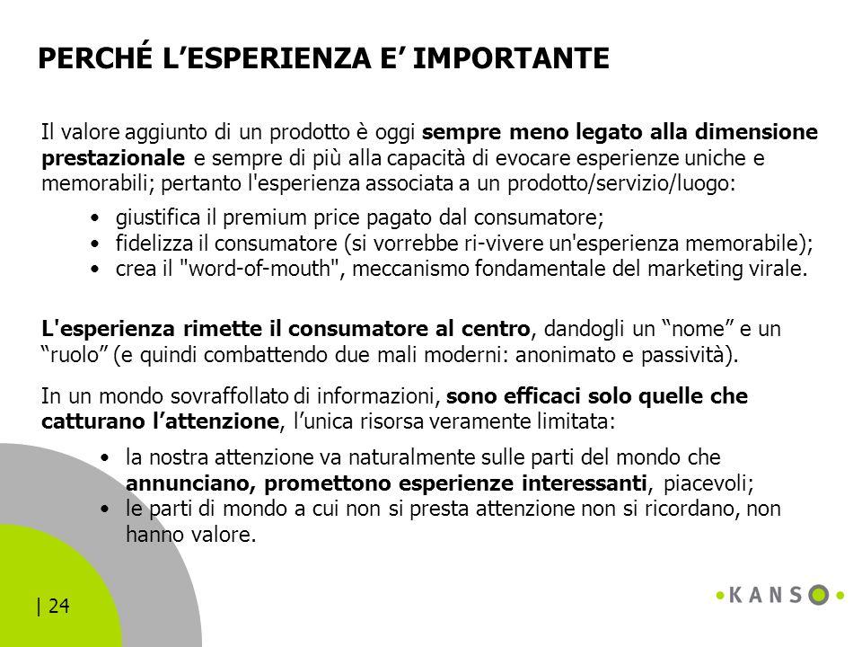 | 24 PERCHÉ L'ESPERIENZA E' IMPORTANTE Il valore aggiunto di un prodotto è oggi sempre meno legato alla dimensione prestazionale e sempre di più alla