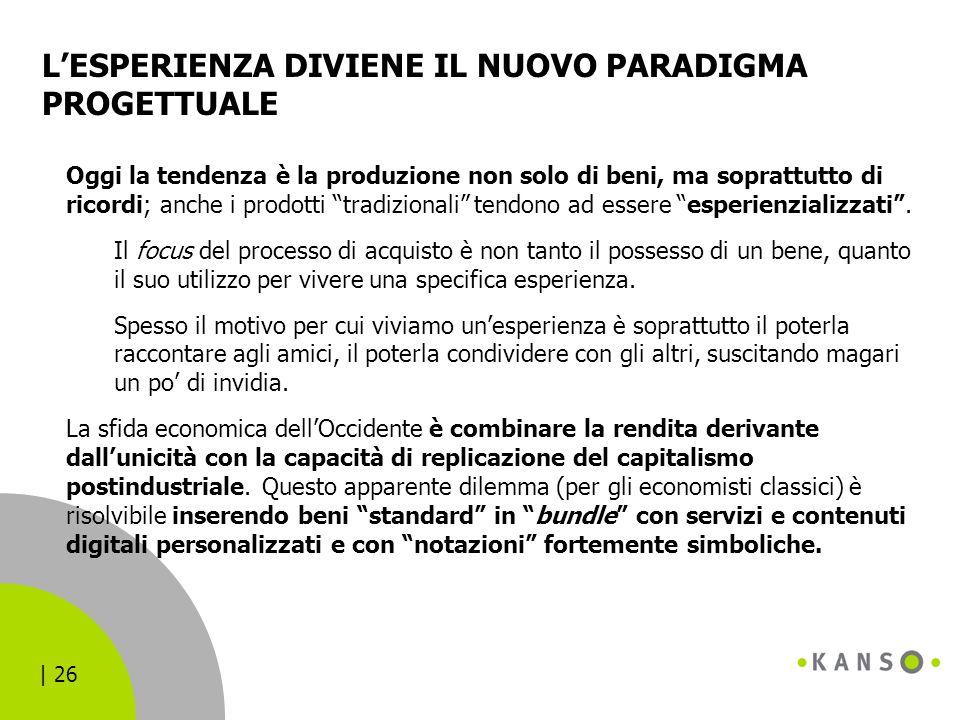 | 26 L'ESPERIENZA DIVIENE IL NUOVO PARADIGMA PROGETTUALE Oggi la tendenza è la produzione non solo di beni, ma soprattutto di ricordi; anche i prodott