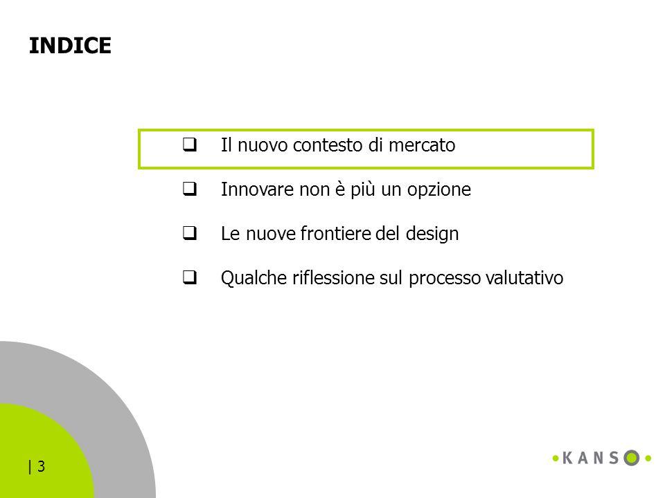 | 3 INDICE  Il nuovo contesto di mercato  Innovare non è più un opzione  Le nuove frontiere del design  Qualche riflessione sul processo valutativ