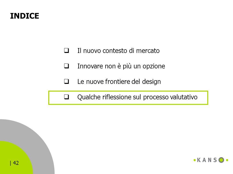 | 42 INDICE  Il nuovo contesto di mercato  Innovare non è più un opzione  Le nuove frontiere del design  Qualche riflessione sul processo valutati