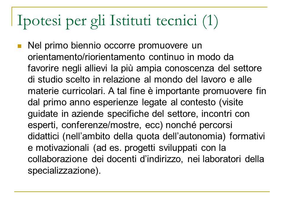Ipotesi per gli Istituti tecnici (1) Nel primo biennio occorre promuovere un orientamento/riorientamento continuo in modo da favorire negli allievi la