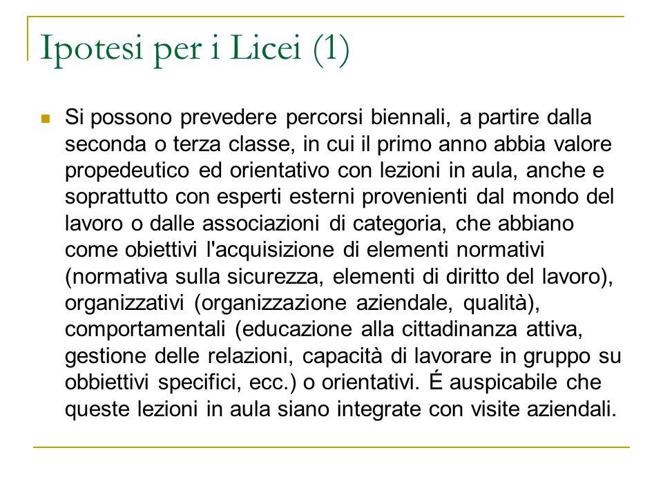 Ipotesi per i Licei (1) Si possono prevedere percorsi biennali, a partire dalla seconda o terza classe, in cui il primo anno abbia valore propedeutico