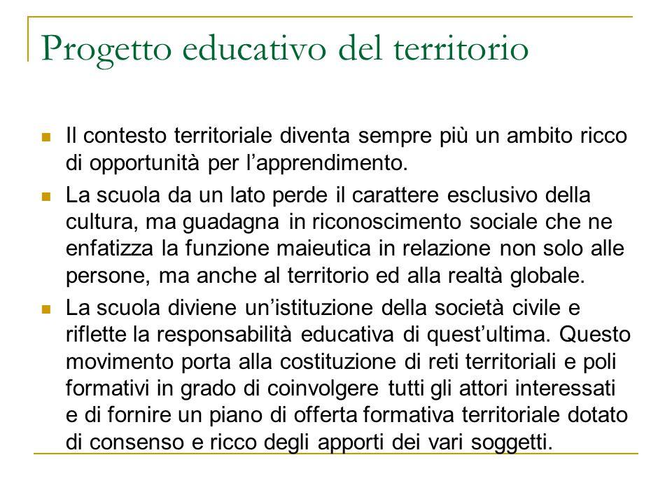 Progetto educativo del territorio Il contesto territoriale diventa sempre più un ambito ricco di opportunità per l'apprendimento. La scuola da un lato