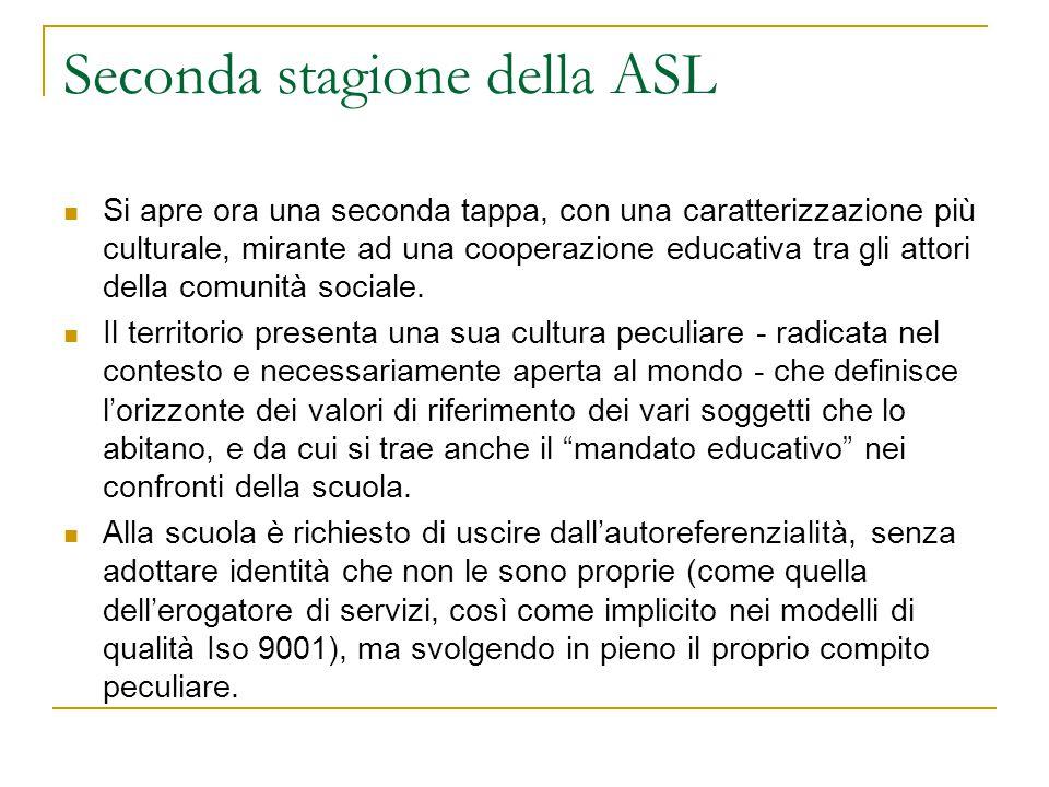 Seconda stagione della ASL Si apre ora una seconda tappa, con una caratterizzazione più culturale, mirante ad una cooperazione educativa tra gli attor