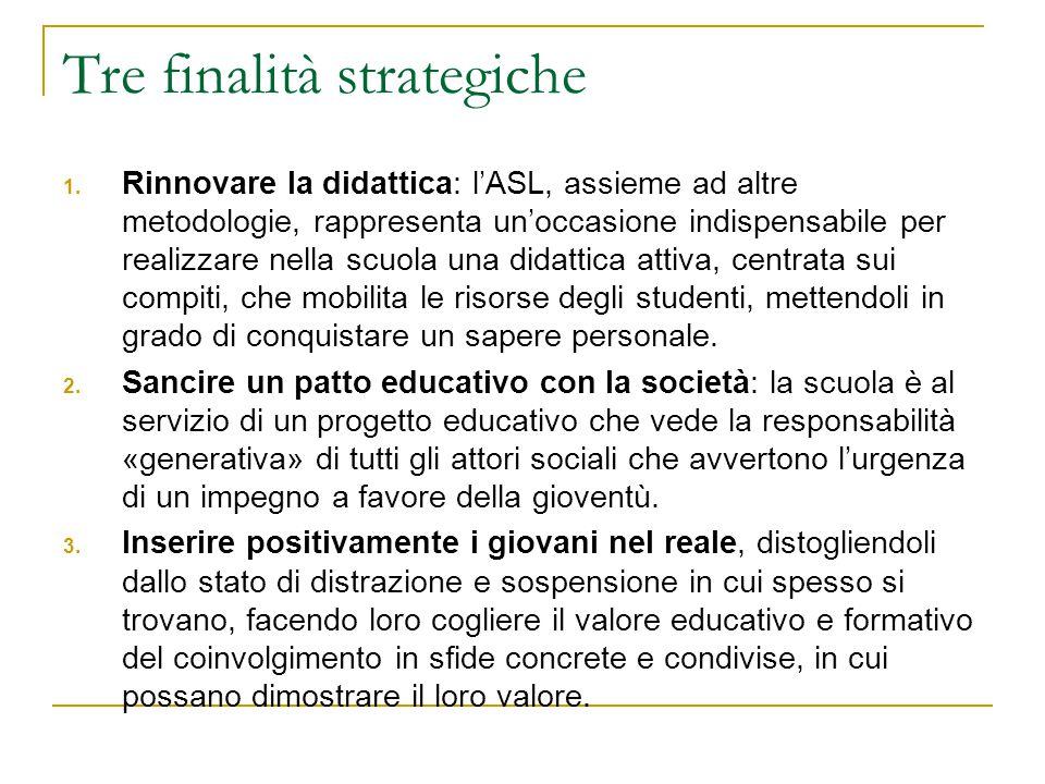 Tre finalità strategiche 1. Rinnovare la didattica: l'ASL, assieme ad altre metodologie, rappresenta un'occasione indispensabile per realizzare nella