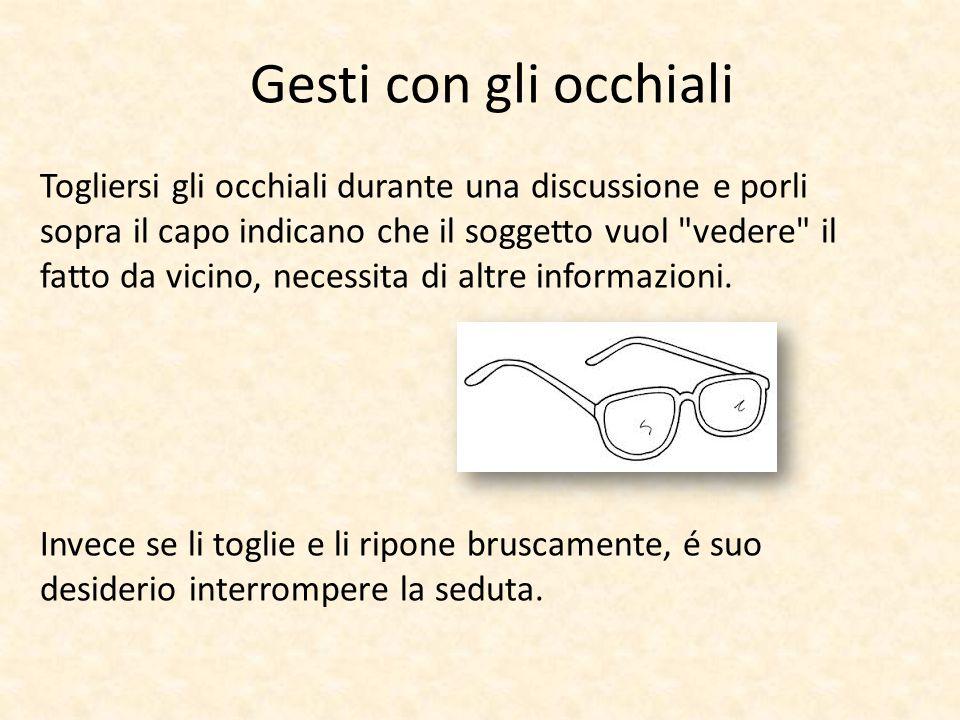 Togliersi gli occhiali durante una discussione e porli sopra il capo indicano che il soggetto vuol