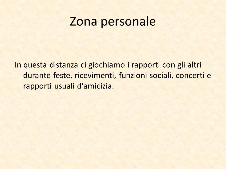 Zona personale In questa distanza ci giochiamo i rapporti con gli altri durante feste, ricevimenti, funzioni sociali, concerti e rapporti usuali d'ami