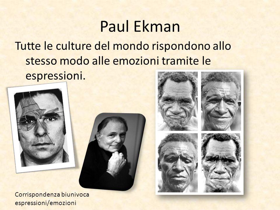 Paul Ekman Tutte le culture del mondo rispondono allo stesso modo alle emozioni tramite le espressioni. Corrispondenza biunivoca espressioni/emozioni