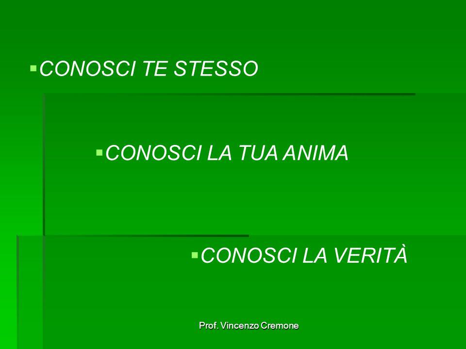 Prof. Vincenzo Cremone  CONOSCI TE STESSO  CONOSCI LA TUA ANIMA  CONOSCI LA VERITÀ