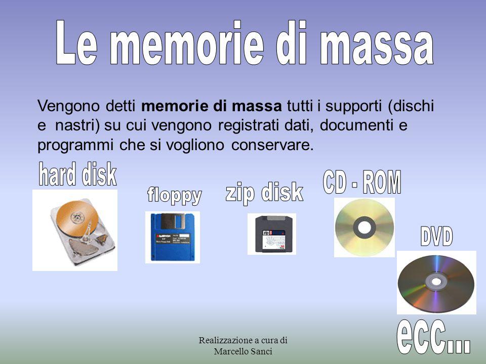 Vengono detti memorie di massa tutti i supporti (dischi e nastri) su cui vengono registrati dati, documenti e programmi che si vogliono conservare. Re