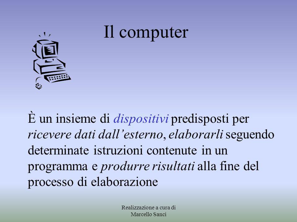 Il computer È un insieme di dispositivi predisposti per ricevere dati dall'esterno, elaborarli seguendo determinate istruzioni contenute in un program