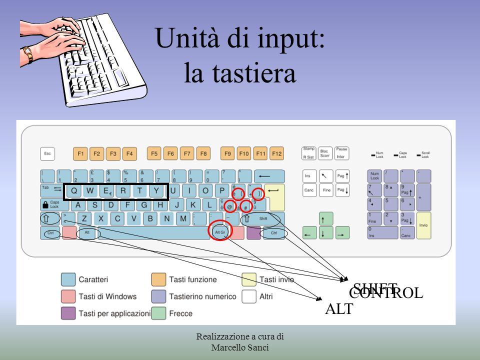 Unità di input: la tastiera SHIFT CONTROL ALT Realizzazione a cura di Marcello Sanci