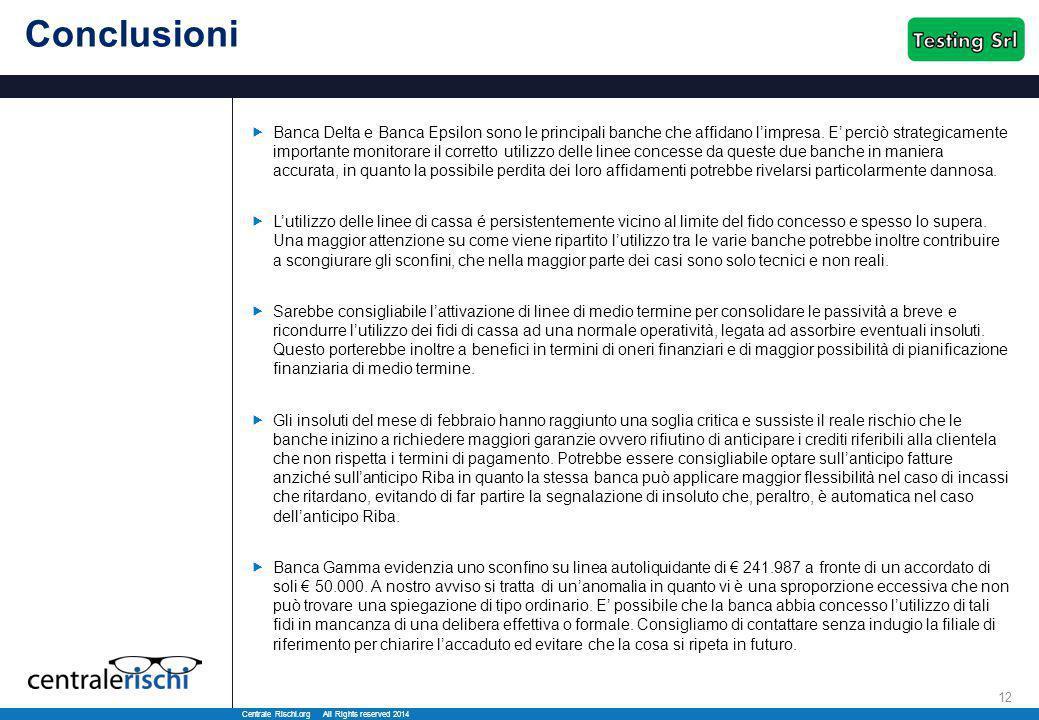 Centrale Rischi.org All Rights reserved 2014 12 Conclusioni  Banca Delta e Banca Epsilon sono le principali banche che affidano l'impresa. E' perciò