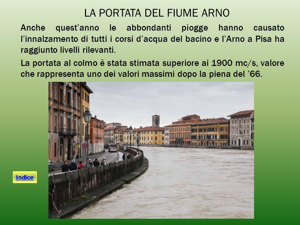 Anche quest'anno le abbondanti piogge hanno causato l'innalzamento di tutti i corsi d'acqua del bacino e l'Arno a Pisa ha raggiunto livelli rilevanti.