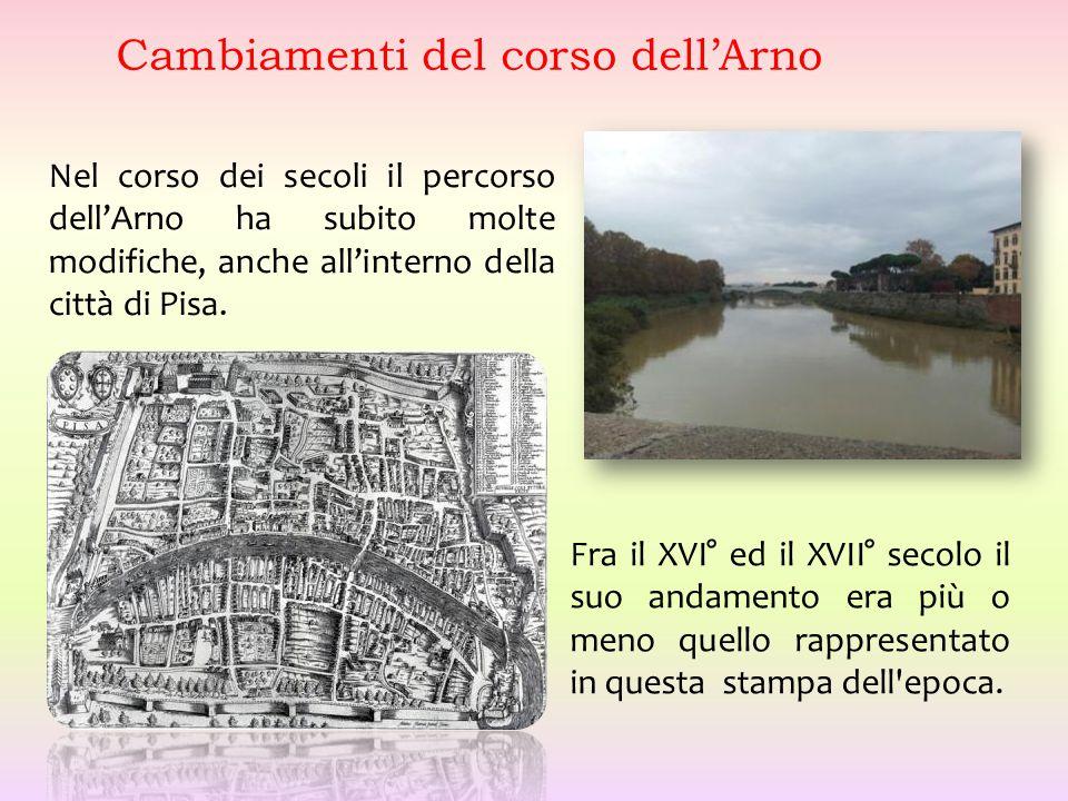 Nel corso dei secoli il percorso dell'Arno ha subito molte modifiche, anche all'interno della città di Pisa. Cambiamenti del corso dell'Arno Fra il XV