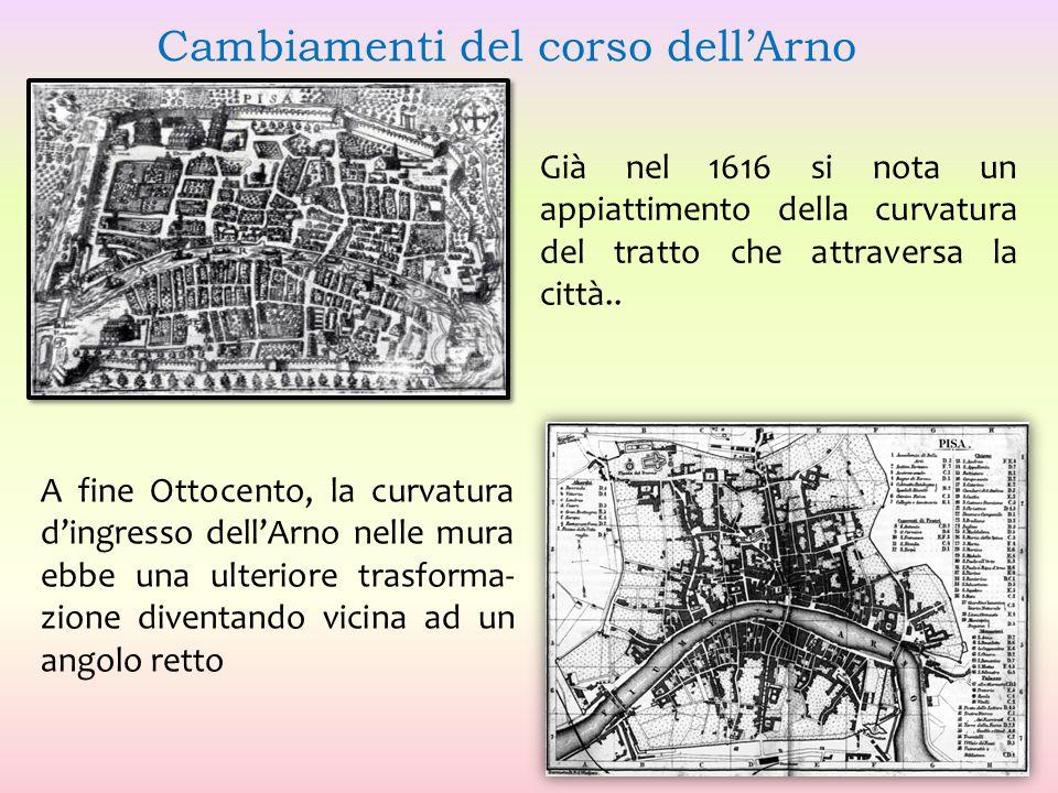 Già nel 1616 si nota un appiattimento della curvatura del tratto che attraversa la città.. A fine Ottocento, la curvatura d'ingresso dell'Arno nelle m