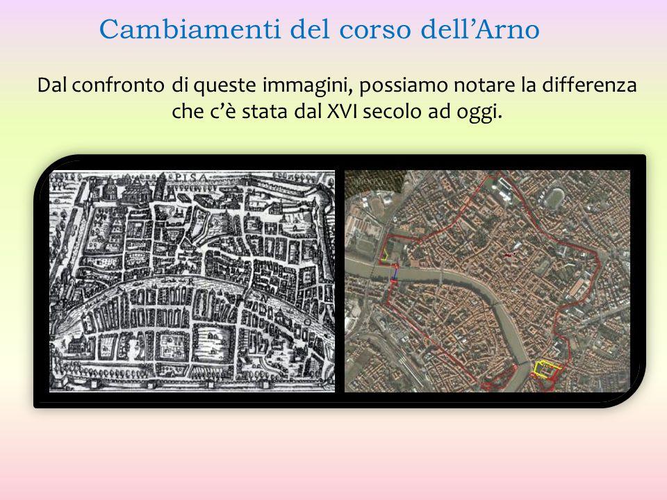 Dal confronto di queste immagini, possiamo notare la differenza che c'è stata dal XVI secolo ad oggi. Cambiamenti del corso dell'Arno