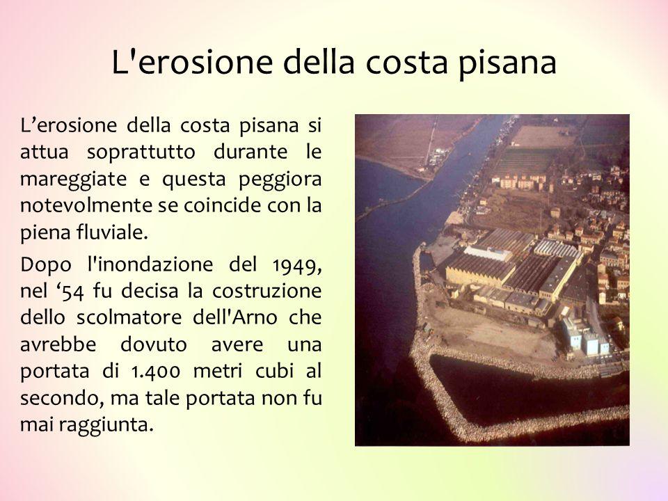 L'erosione della costa pisana L'erosione della costa pisana si attua soprattutto durante le mareggiate e questa peggiora notevolmente se coincide con