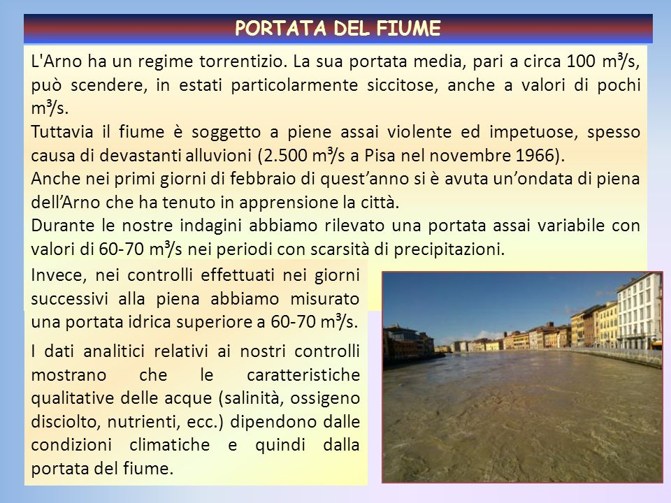 L'Arno ha un regime torrentizio. La sua portata media, pari a circa 100 m³/s, può scendere, in estati particolarmente siccitose, anche a valori di poc