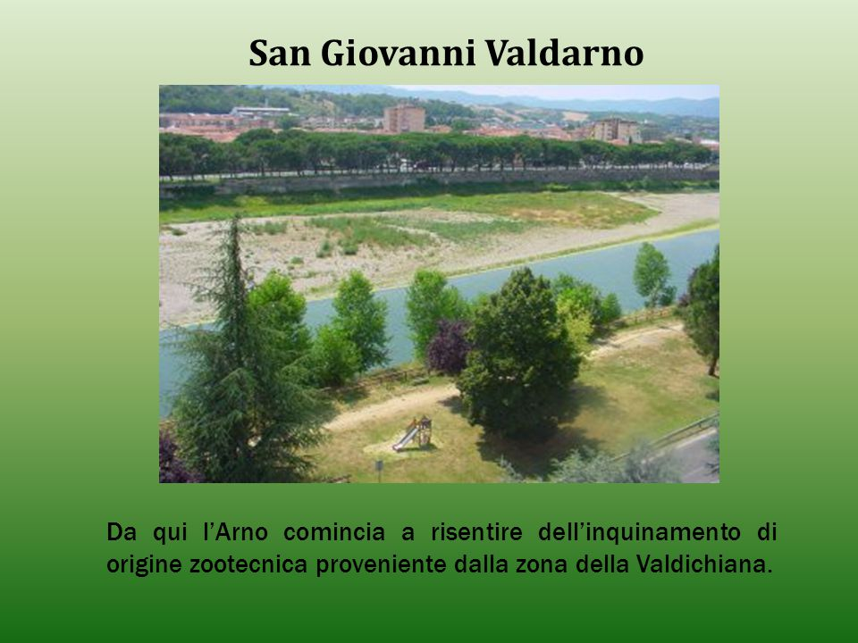 San Giovanni Valdarno Da qui l'Arno comincia a risentire dell'inquinamento di origine zootecnica proveniente dalla zona della Valdichiana.