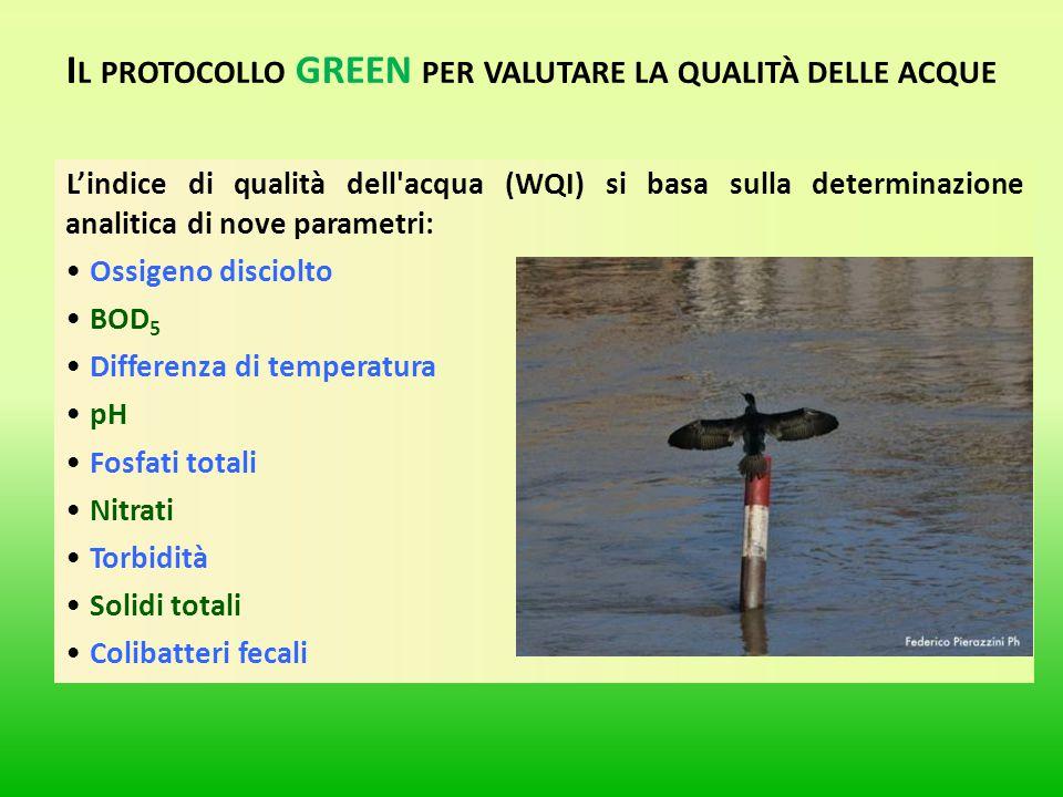 L'indice di qualità dell'acqua (WQI) si basa sulla determinazione analitica di nove parametri: Ossigeno disciolto BOD 5 Differenza di temperatura pH F
