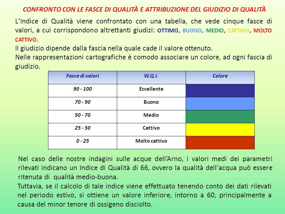 L'Indice di Qualità viene confrontato con una tabella, che vede cinque fasce di valori, a cui corrispondono altrettanti giudizi: OTTIMO, BUONO, MEDIO,