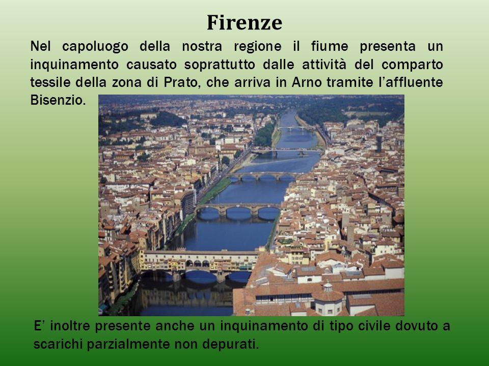 Firenze Nel capoluogo della nostra regione il fiume presenta un inquinamento causato soprattutto dalle attività del comparto tessile della zona di Pra