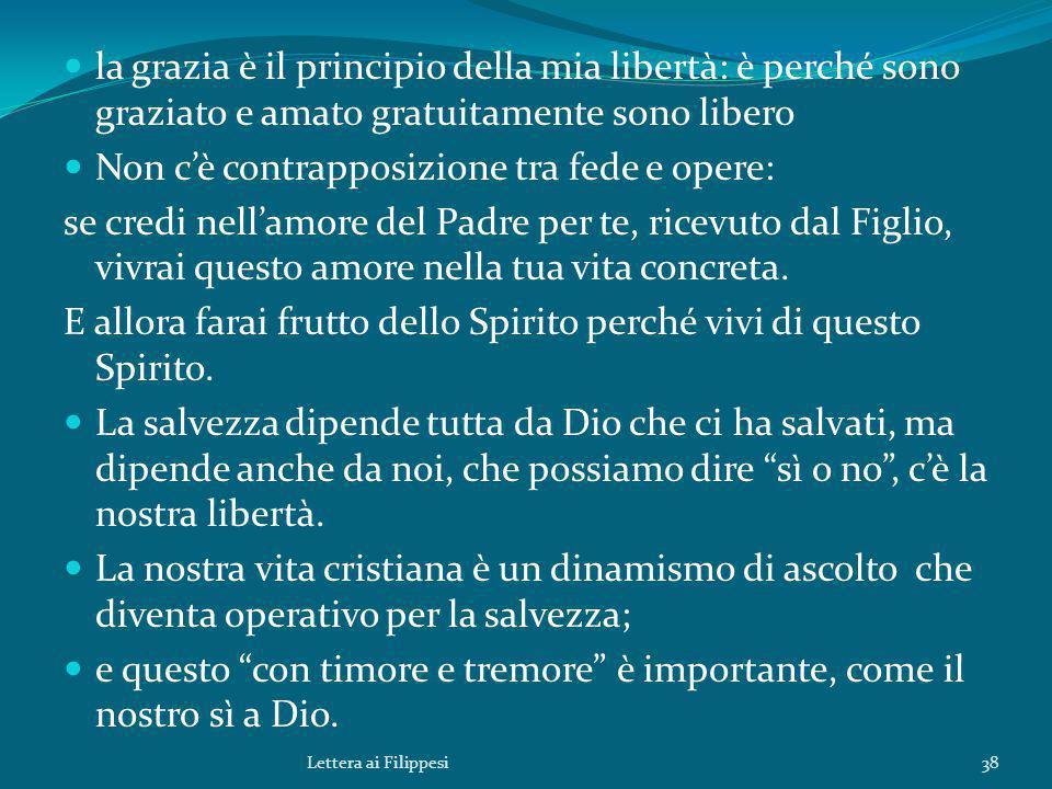 la grazia è il principio della mia libertà: è perché sono graziato e amato gratuitamente sono libero Non c'è contrapposizione tra fede e opere: se cre