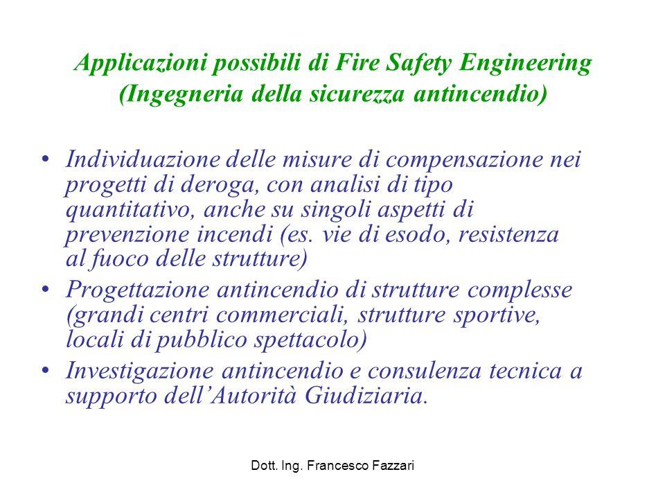 Applicazioni possibili di Fire Safety Engineering (Ingegneria della sicurezza antincendio) Individuazione delle misure di compensazione nei progetti d