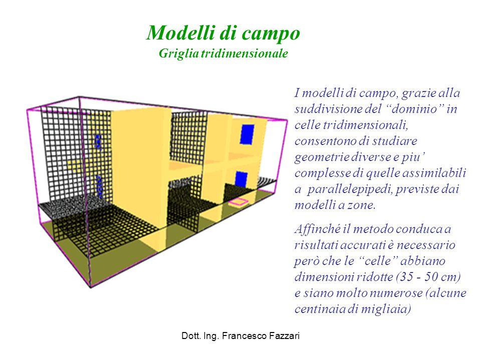 """Modelli di campo Griglia tridimensionale Dott. Ing. Francesco Fazzari I modelli di campo, grazie alla suddivisione del """"dominio"""" in celle tridimension"""