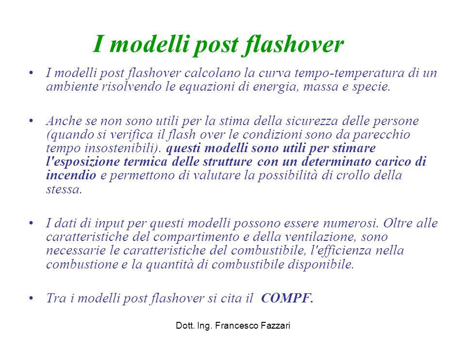 I modelli post flashover I modelli post flashover calcolano la curva tempo-temperatura di un ambiente risolvendo le equazioni di energia, massa e spec