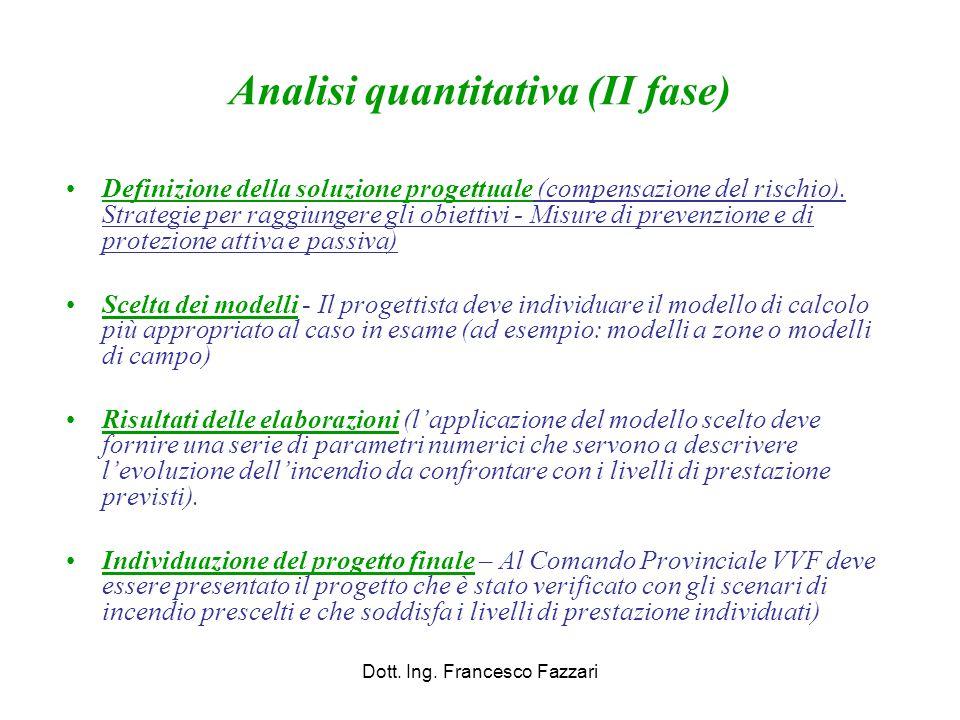 Analisi quantitativa (II fase) Definizione della soluzione progettuale (compensazione del rischio). Strategie per raggiungere gli obiettivi - Misure d