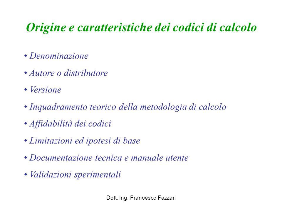 Dott. Ing. Francesco Fazzari Origine e caratteristiche dei codici di calcolo Denominazione Autore o distributore Versione Inquadramento teorico della