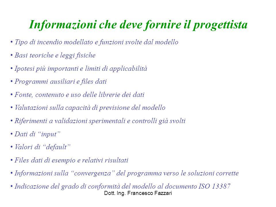 Dott. Ing. Francesco Fazzari Informazioni che deve fornire il progettista Tipo di incendio modellato e funzioni svolte dal modello Basi teoriche e leg