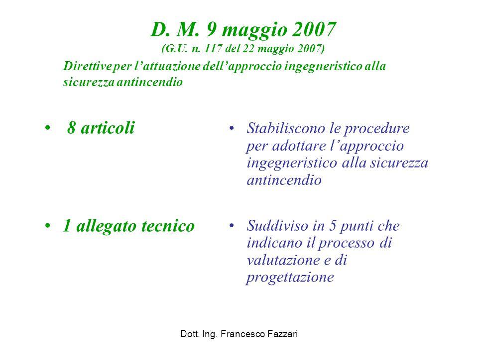D. M. 9 maggio 2007 (G.U. n. 117 del 22 maggio 2007) 8 articoli 1 allegato tecnico Dott. Ing. Francesco Fazzari Stabiliscono le procedure per adottare