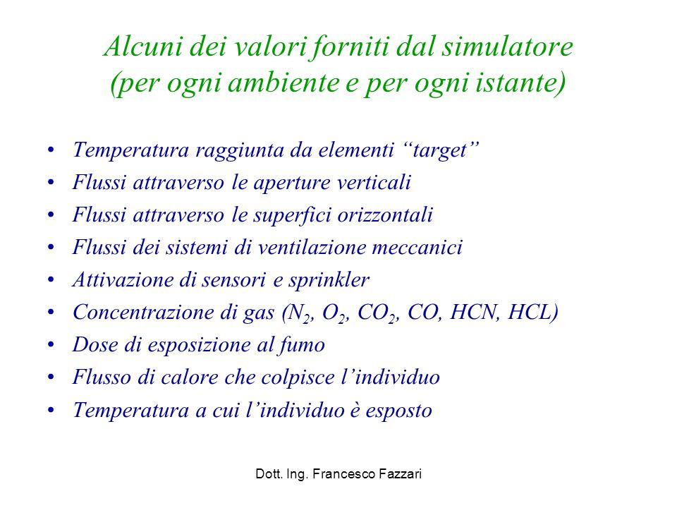 """Alcuni dei valori forniti dal simulatore (per ogni ambiente e per ogni istante) Temperatura raggiunta da elementi """"target"""" Flussi attraverso le apertu"""