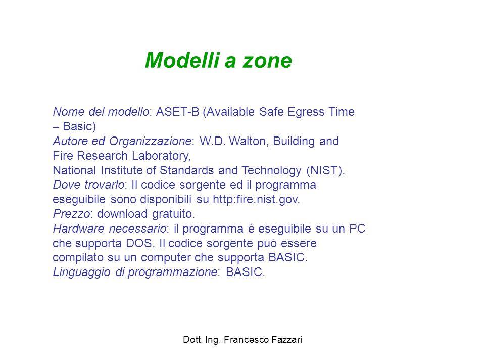 Dott. Ing. Francesco Fazzari Nome del modello: ASET-B (Available Safe Egress Time – Basic) Autore ed Organizzazione: W.D. Walton, Building and Fire Re