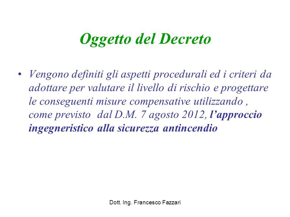 Oggetto del Decreto Vengono definiti gli aspetti procedurali ed i criteri da adottare per valutare il livello di rischio e progettare le conseguenti m