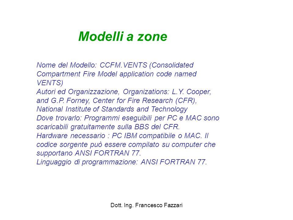 Dott. Ing. Francesco Fazzari Nome del Modello: CCFM.VENTS (Consolidated Compartment Fire Model application code named VENTS) Autori ed Organizzazione,